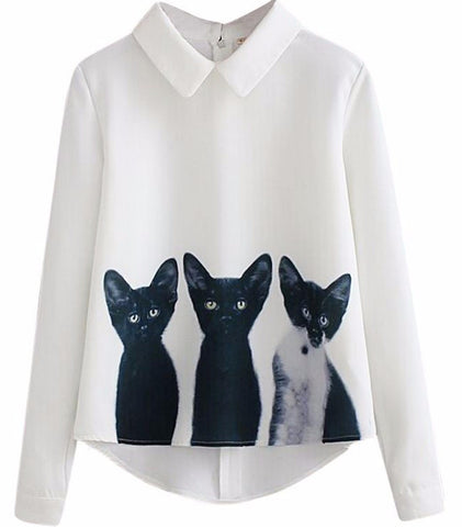Elegant Three Kittens Blouse - Two Stupid Cats