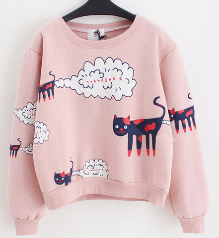 Plus Size Funny Cat Pattern Women Sweatshirt - Two Stupid Cats