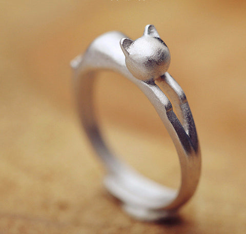 Sterling Silver Simple Cat Ring - Two Stupid Cats