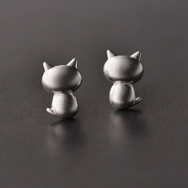 Sterling Silver Cute Kitty Earrings - Two Stupid Cats