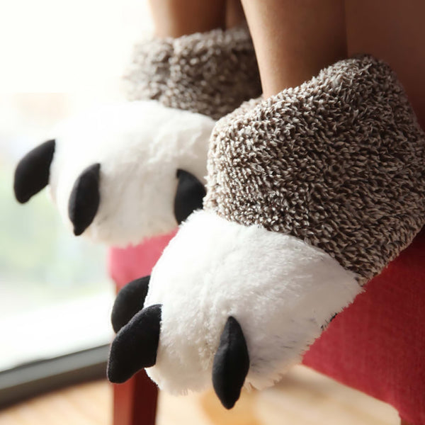 Cute Plush Claw Comfortable Slippers - Two Stupid Cats