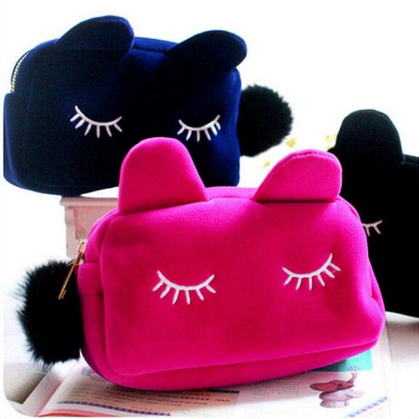 Cosmetic Fluffy Cat Bag - Two Stupid Cats