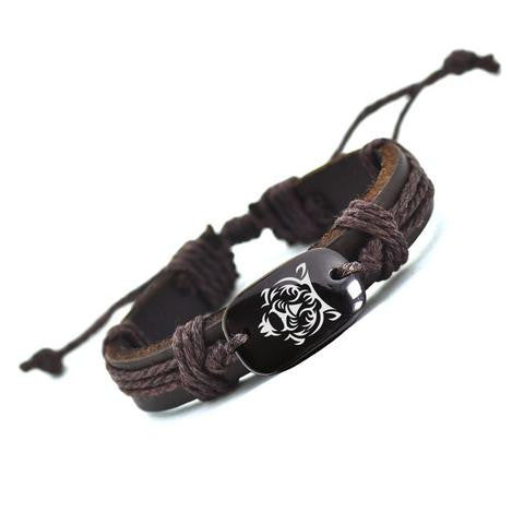 Tiger Leather Bracelet - Two Stupid Cats