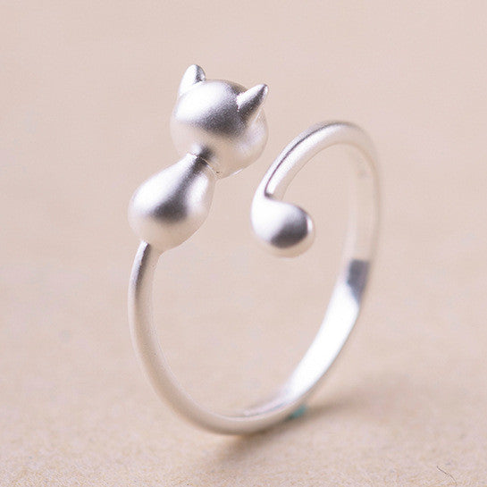 Sterling Silver Cat Long Tail Ring - Two Stupid Cats