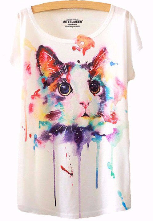 Artistic Colorful Cat Print T-Shirt - Two Stupid Cats