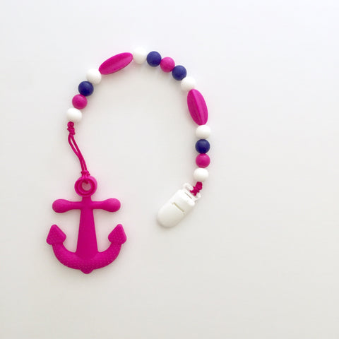 Teething Clip | Pink Anchor