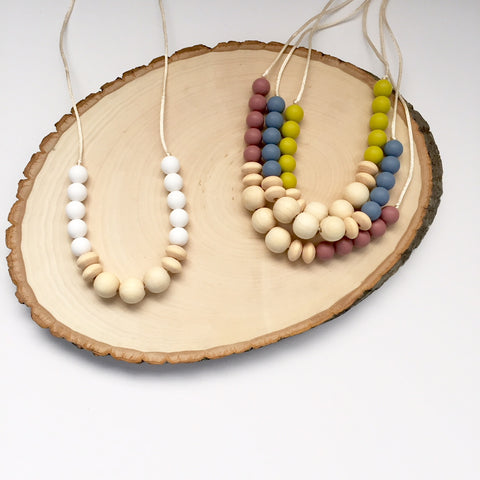 The Ash Wood + Silicone Necklace | 4 color options