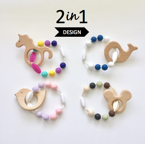 The Beech Teething Accessory | Mix and Match Colors/Pendants