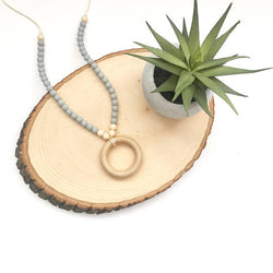 The Ava | Wood Ring + Silicone Necklace