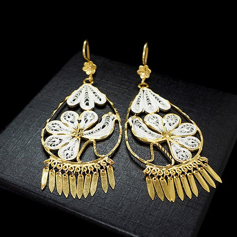 Peacock Filigree Hook Earrings 3""