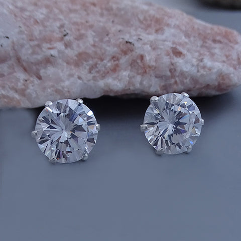 Round CZ Stud Earrings 10mm