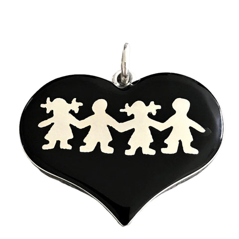 Four Children Heart Pendant 25mm