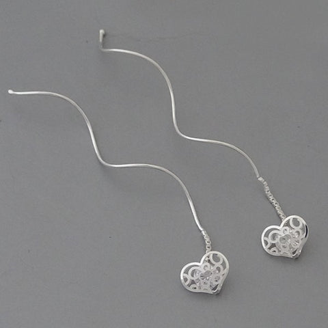 CZ Heart -Thread Dangle Earrings 2.4""
