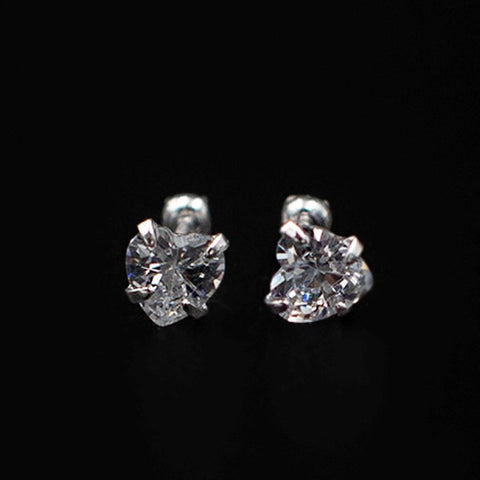 CZ Heart Stud Earrings- Screw Back