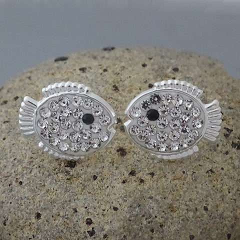 Crystal Blowfish Screw Back Stud Earrings 12mm
