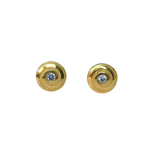 CZ Spiral Circle Stud Earrings 7mm