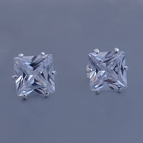 Square CZ Stud Earrings 10mm