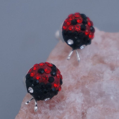 Crystal Ladybug Stud Earrings 8mm