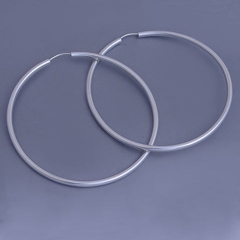 Polished Round Tube Hoop Earrings 68 mm
