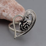 Heart Rose Flower Ring #Adj