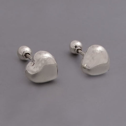 Inflated Heart Screw Back Stud Earrings 9mm