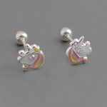 Unicorn Screw Back Stud Earrings 6mm
