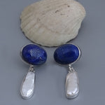 Lapis Lazuli & Shell Earrings 34 mm