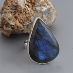 Labradorite Drop Ring #Adj