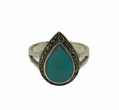 Turquoise Drop Marcasite Ring #8