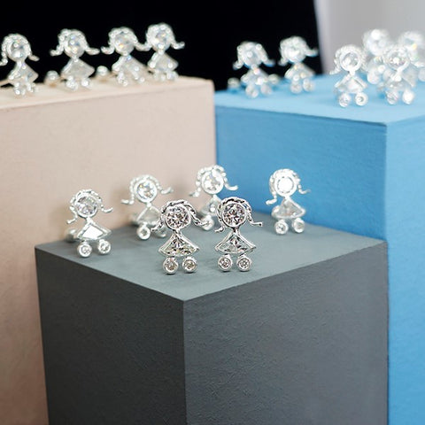 Crystal Girl Screw Back Stud Earrings 8mm