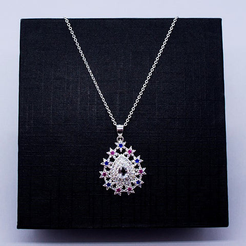 CZ Drop Pendant Necklace 18""