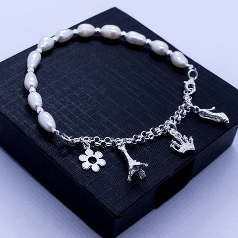 Pearl Bracelet with Charms 7""
