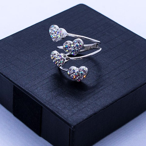Four Crystal Hearts Ring # 9