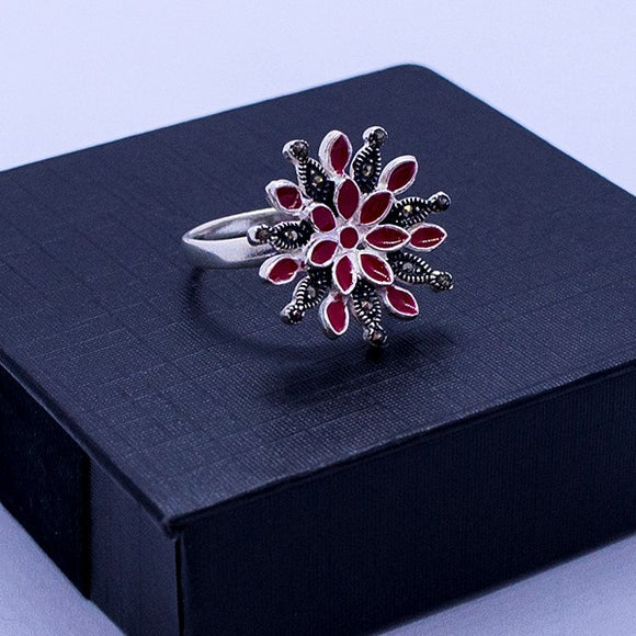 Marcasite & Resin Flower Ring #8.5