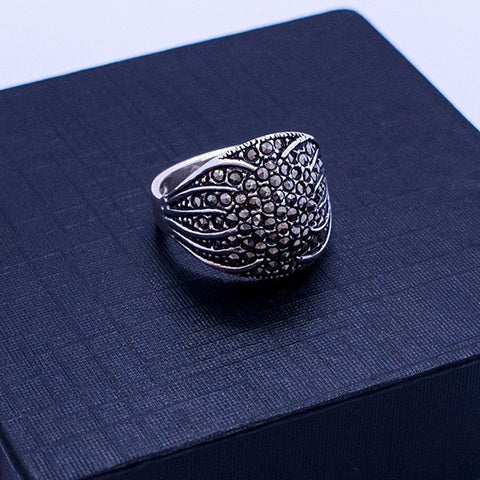 Marcasite Cabochon Ring #7.5
