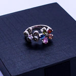 CZ & Marcasite Double Flower Ring #8.5