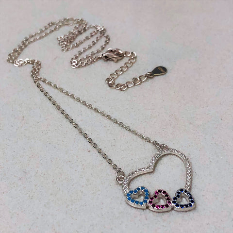 Cubic Zirconia & Micro Pave Hearts Necklace 19""