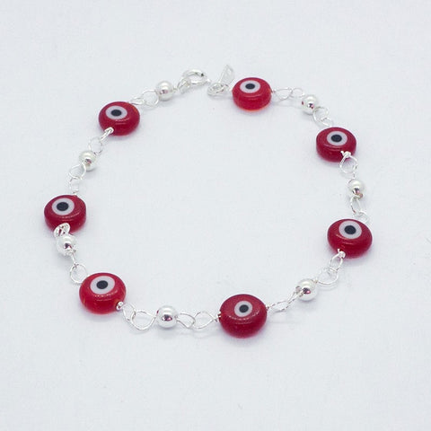 8mm Evil Eye Murano Glass Bracelet 7.5""