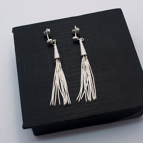 Liquid Silver 10 Strands Earrings 2.4""