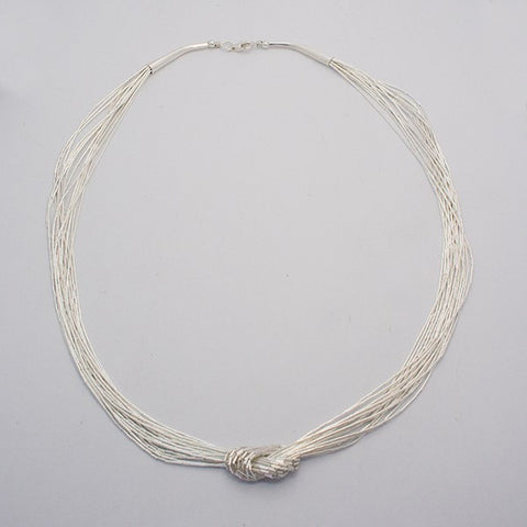 Liquid Silver 15 Strands- Knot Necklace 18""