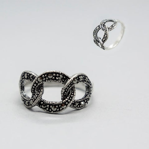 Three Hoops Marcasite Ring #8