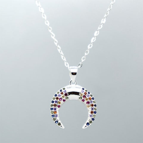 CZ Moon Necklace 20""
