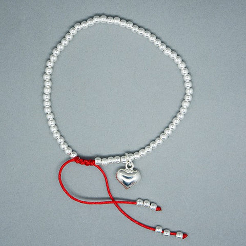 Inflated Heart Thread Bracelet