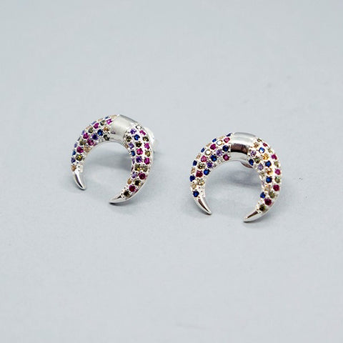 CZ Moon Stud Earrings 15mm