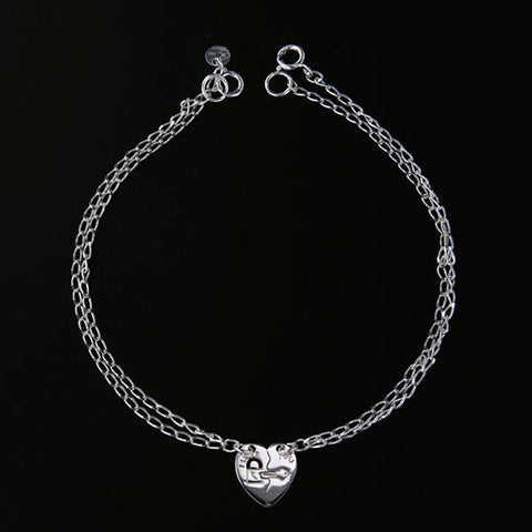 Double Bracelet with Laser Heart - 7""