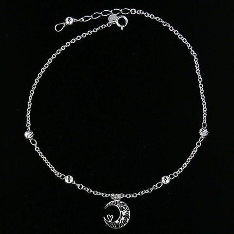 Hanging Moon Anklet 10""