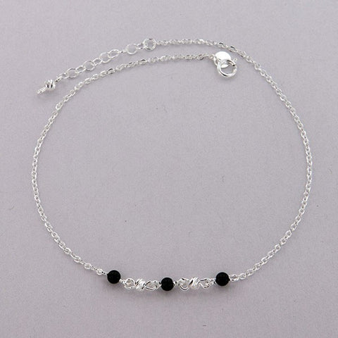 Onyx Beads Chain Anklet 10""