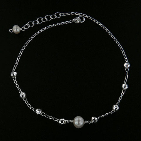 Bead and Pearl Anklet 10""