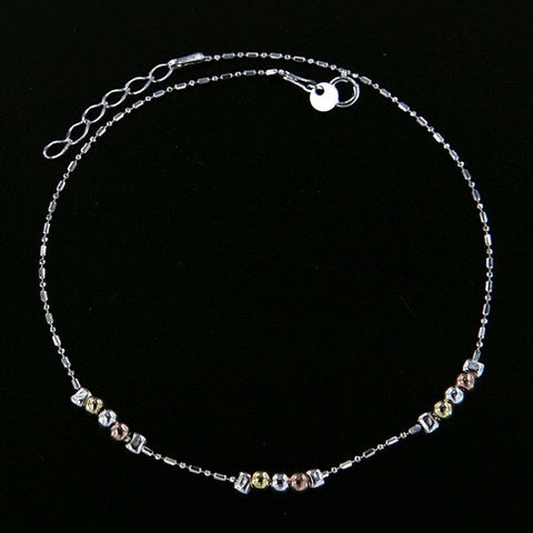 Tri-Tone Bead Anklet - 10""