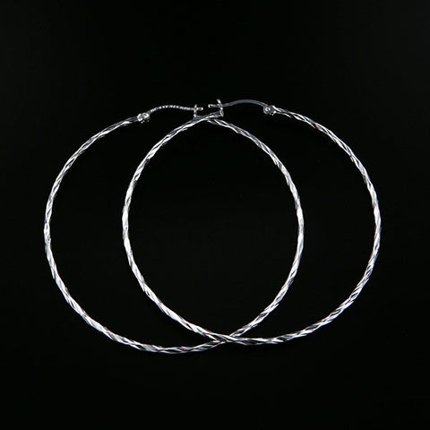 Diamond- Cut Round Tube Hoop Earrings 60mm